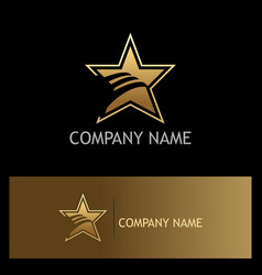 Star wing abstract gold company logo vector