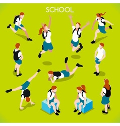 Students Set 01 People Isometric vector