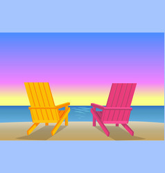 Sunbed on beach pair chaise-lounges coastline vector