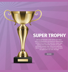 super trophy web banner with gold cup vector image