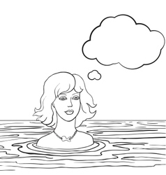 Swimming woman with thinking bubble vector