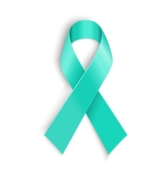Teal ribbon symbol of scleroderma ovarian cancer vector