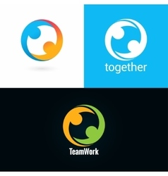 Team work logo design icon set background vector