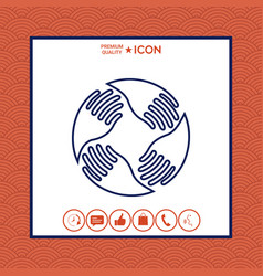 teamwork hands logo human connection line icon vector image vector image