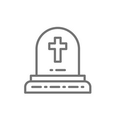 Tombstone with christian cross grave gravestones vector