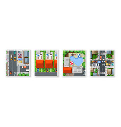 top view city from streets roads vector image