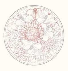 Tropical flowers in form of circle in sketch line vector