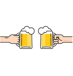 two friends holding beer glasses with foam vector image