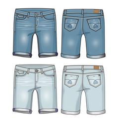two shades denim womens knee length shorts vector image