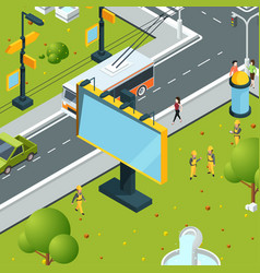 urban billboards isometric town with blank places vector image
