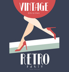 vintage retro party logo original design element vector image