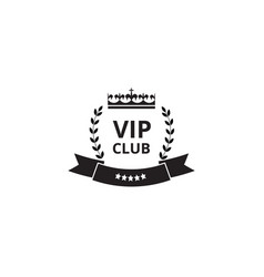 vip club badge and royal label with luxury king vector image