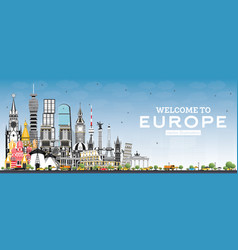 Welcome to europe skyline with gray buildings and vector