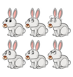 white bunny with different emotions vector image
