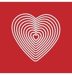 White heart on red background Optical of vector