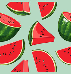 whole watermelon with slices hand drawn design vector image
