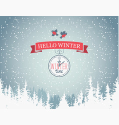 winter banner with fir trees clock and birds vector image