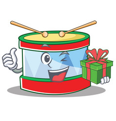 with gift toy drum character cartoon vector image