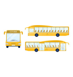 yellow city bus from different sides vector image