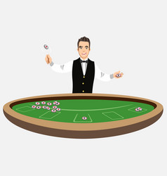casino croupier with poker chips vector image