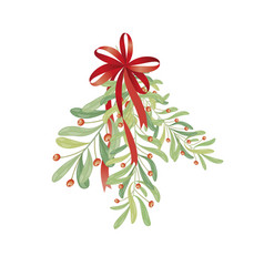 christmas sprig of mistletoe for greeting cards vector image