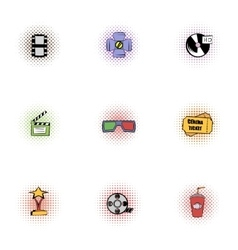 Movie theater icons set pop-art style vector image