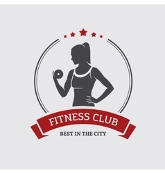 Girl with dumbbell vector image