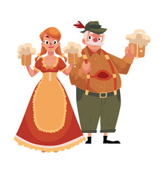 man and woman in traditional german bavarian vector image