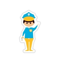 Paper sticker on white background male police vector