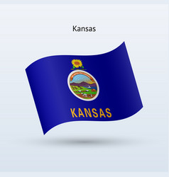 State of kansas flag waving form vector