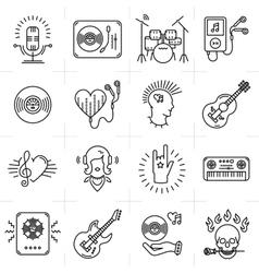 Thin lines music icons set Punk rock band guitar vector image vector image