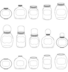 Jars set jar with label silhouettes vector image