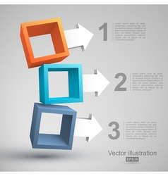 Three empty boxes with arrows 3D vector image vector image