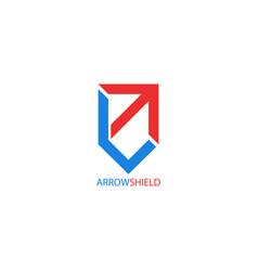 arrow logo shield shape creative symbol growth vector image