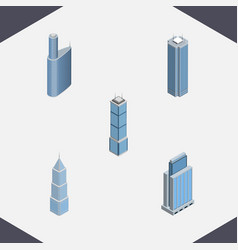 Isometric construction set of building exterior vector