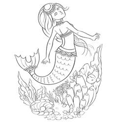 Mermaid swimming in the ocean outlined vector image