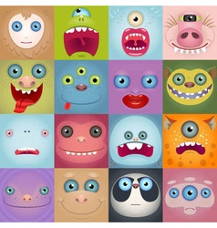 Set Of Funny Cartoon Monster Faces vector image vector image