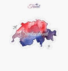Travel around the world Switzerland Watercolor map vector image vector image