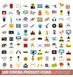 100 cinema product icons set flat style vector