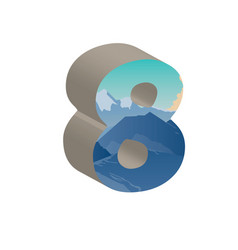 3d number eight of 3d font vector image