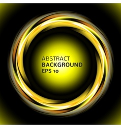 Abstract light yellow swirl circle on black vector