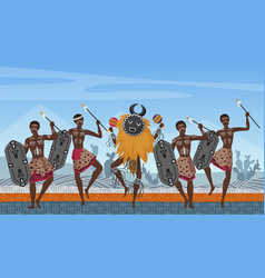 African people dance on traditional ethnic pattern vector