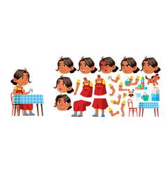 Arab muslim girl kindergarten kid vector