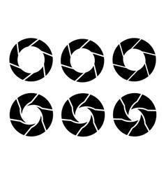 Black camera shutter icons set on white background vector