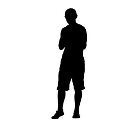 black silhouette man standing people on white vector image