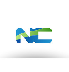 Blue green nc n c alphabet letter logo vector