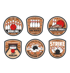 Bowling club sport game icons vector