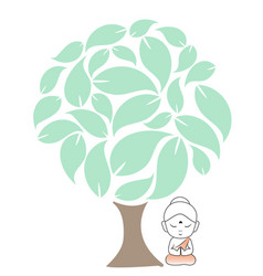 Buddha meditating under a sacred fig tree vector