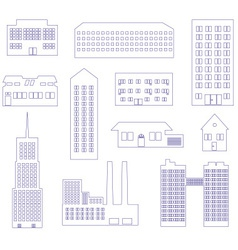 buildings and houses outline simple symbols eps10 vector image