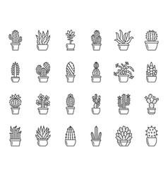 Cactus plant simple black line icons set vector
